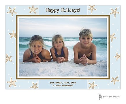 Starfish Blue & Chocolate Holiday Flat Photo Card
