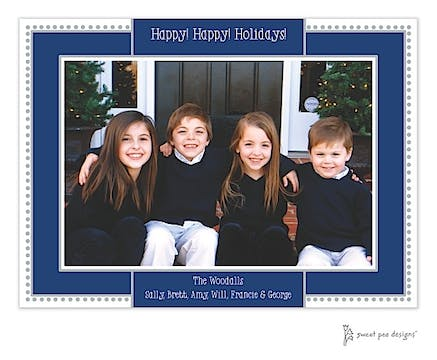 Antique Bead Border Holiday Flat Photo Card