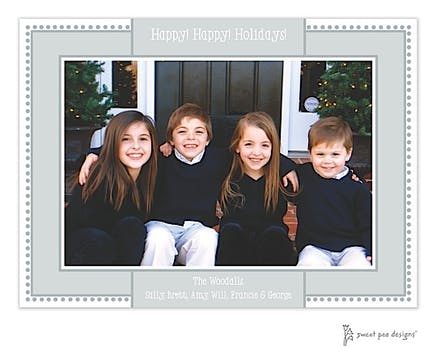 Antique Bead Border Silver Holiday Flat Photo Card