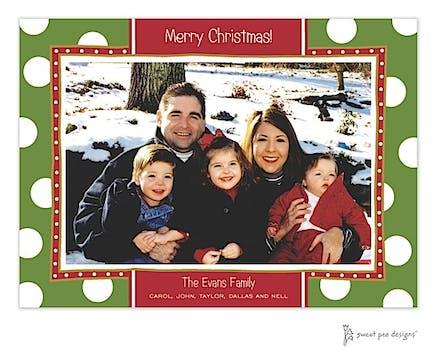 Big Dots Green & Red Christmas Flat Photo Card