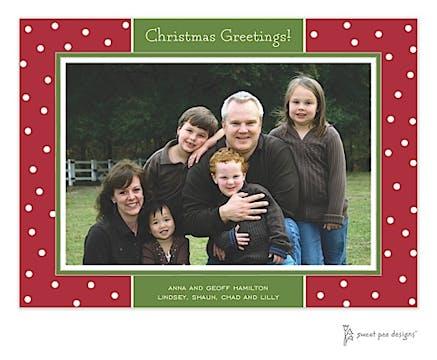 Holiday Dots Red & Green Christmas Flat Photo Card