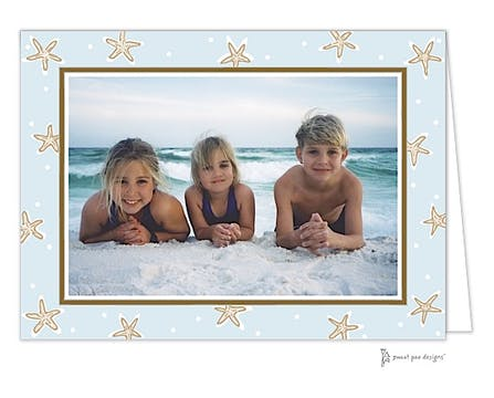 Starfish Blue & Chocolate Print & Apply Folded Photo Card