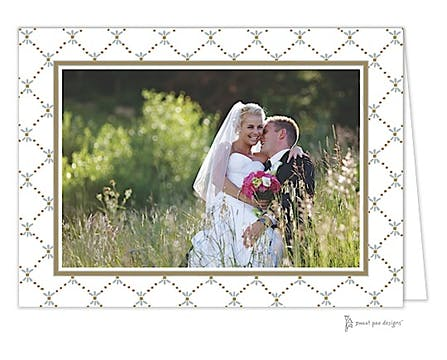 Fleur De Lis Gold & Silver Print & Apply Folded Photo Card