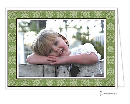 Damask & Dots Green Print & Apply Folded Photo Card