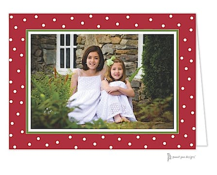 Holiday Dots Red & Green Print & Apply Folded Photo Card