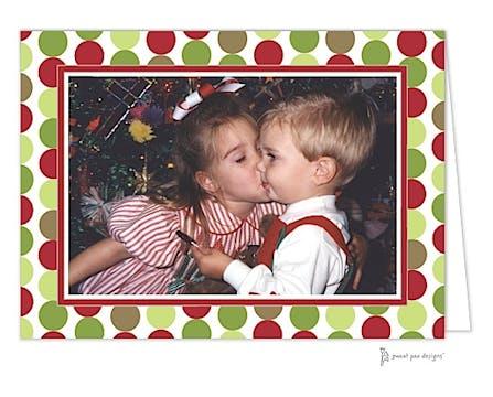 Christmas Retro Dots Print & Apply Folded Photo Card
