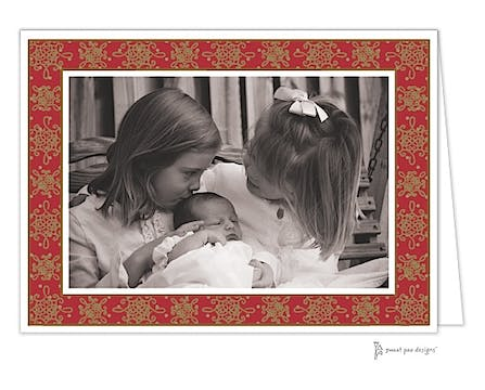 Damask & Dots Red & Gold Print & Apply Folded Photo Card