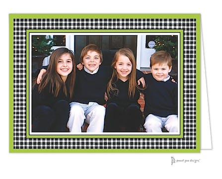 Gingham Black & White On Lime Print & Apply Folded Photo Card
