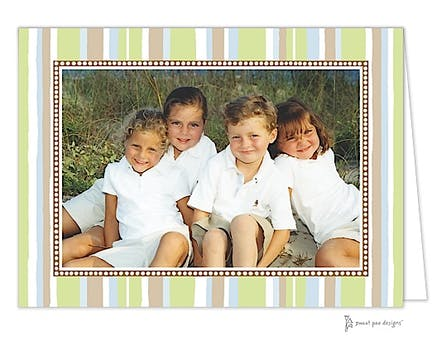 Casual Stripes Holiday Print & Apply Folded Photo Card