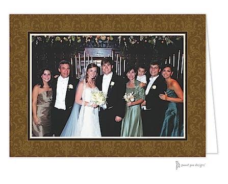 Damask Chocolate Holiday Print & Apply Folded Photo Card