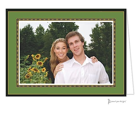 Rice Bead Border Gold On Green Print & Apply Folded Photo Card