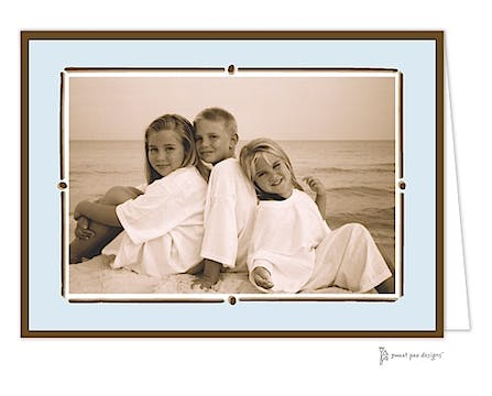 Vintage Frame Blue & Chocolate Print & Apply Folded Photo Card
