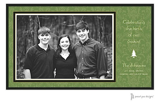 Damask Green On Green Flat Photo Card