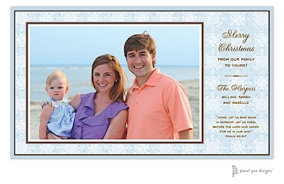 Damask & Dots Blue Holiday Print & Apply Flat Photo Card