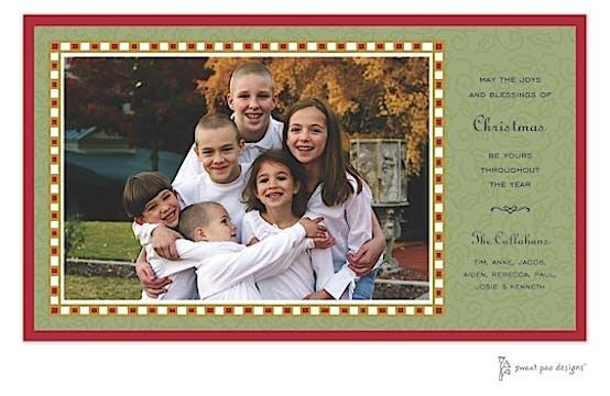 Checked Border & Holly Christmas Print & Apply Flat Photo Card