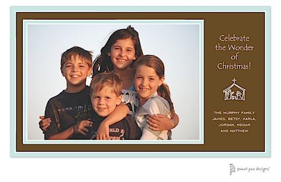 Aqua Borders On Chocolate Holiday Print & Apply Flat Photo Card