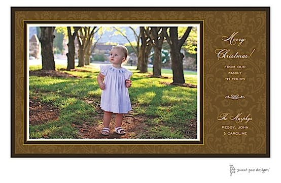Damask Chocolate On Chocolate Flat Photo Card