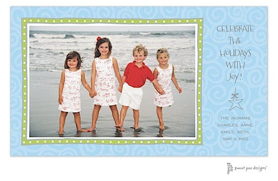 Swirls Blue & Lime Border Holiday Print & Apply Flat Photo Card