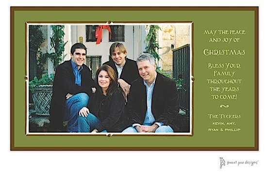 Vintage Frame Green & Chocolate Christmas Print & Apply Flat Photo Card