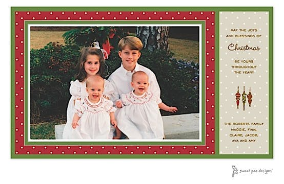 Dotted Frame Red & Green Christmas Print & Apply Flat Photo Card