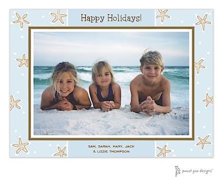 Starfish Blue & Chocolate Holiday Print & Apply Flat Photo Card
