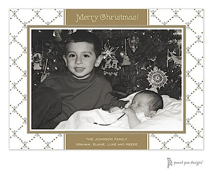 Fleur De Lis Gold & Silver Holiday Print & Apply Flat Photo Card
