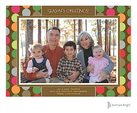Retro Dots Chocolate Christmas Print & Apply Flat Photo Card