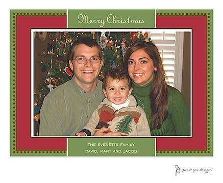 Antique Bead Border Red & Green Christmas Print & Apply Flat Photo Card