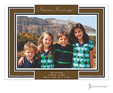 Chocolate Border On Black Holiday Print & Apply Flat Photo Card