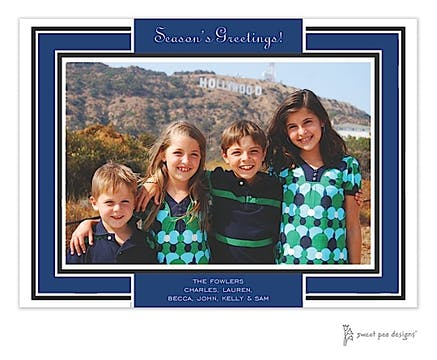 Navy Border On Black Holiday Print & Apply Flat Photo Card