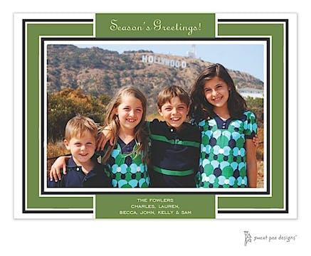 Green Border On Black Flat Photo Card
