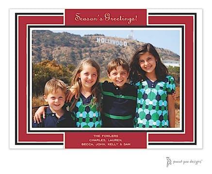 Red Border On Black Flat Photo Card