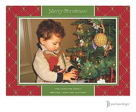 Fleur De Lis Red & Green Christmas Print & Apply Flat Photo Card