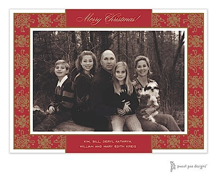 Damask & Dots Red & Gold Christmas Print & Apply Flat Photo Card