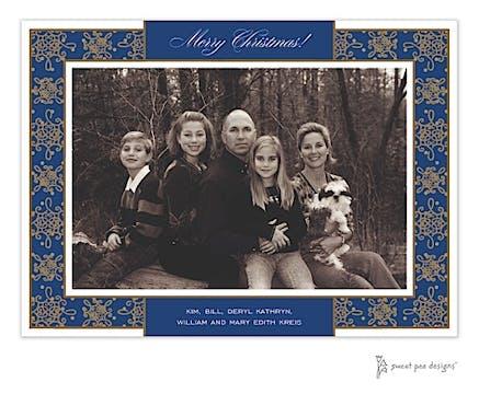Damask & Dots Navy & Gold Holiday Print & Apply Flat Photo Card