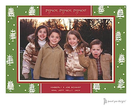 Winter Forest Green & Red Christmas Print & Apply Flat Photo Card