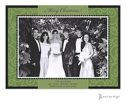 Swirls Green On Green Christmas Print & Apply Flat Photo Card