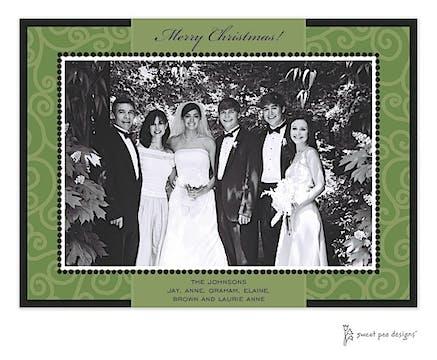 Swirls Green On Green Christmas Print & Apply Flat Photo Card