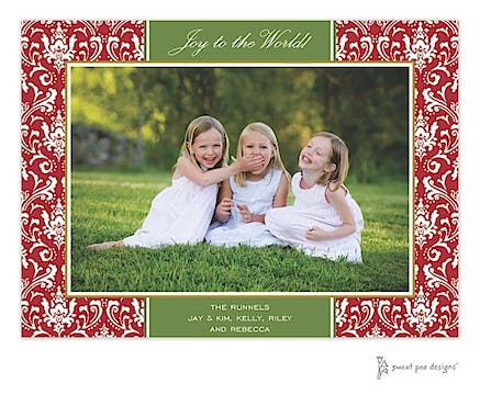 Damask Red & Green Christmas Print & Apply Flat Photo Card