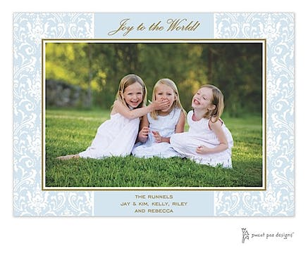 Damask Blue & Chocolate Holiday Print & Apply Flat Photo Card