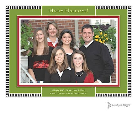 Black Striped Edge On Green & Red Christmas Print & Apply Flat Photo Card