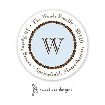 Dotted Border Blue & Chocolate Round Address Sticker