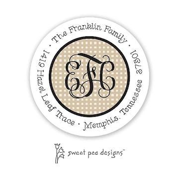 Linen Latte & Black Round Address Sticker