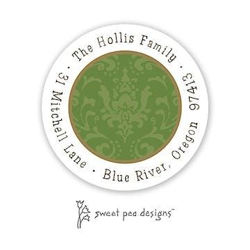 Damask Green On Green Round Address Sticker