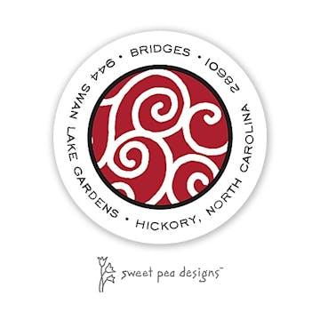 Scrollwork Red & Black Round Address Sticker