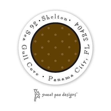 Tiny Dots Chocolate On Chocolate Round Address Sticker