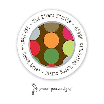 Retro Dots Chocolate Round Address Sticker