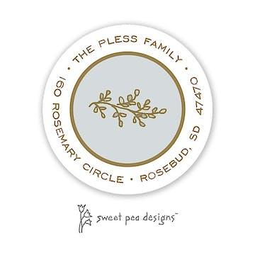 Simple Silver & Gold Round Address Sticker