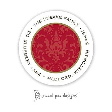 Damask Red On Red Round Address Sticker