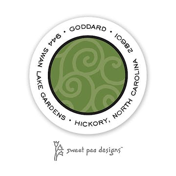 Scrollwork Green On Green Round Address Sticker